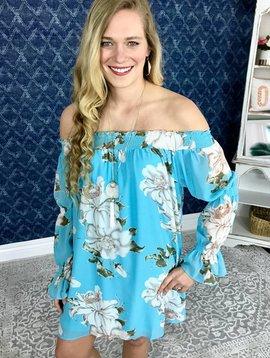 Aqua Floral Off Shoulder Dress
