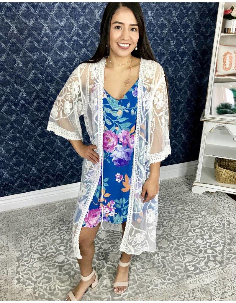 Blue Floral Spaghetti Strap Dress