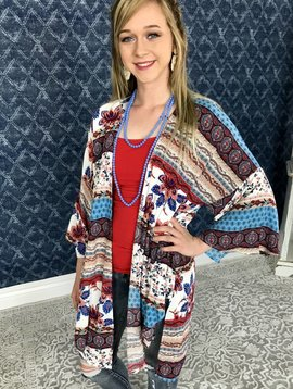 Blue/Red Multi Print Front Tie Kimono Cardigan