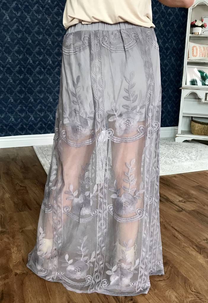 Grey Skirt with Mesh Floral Tail- SALE ITEM