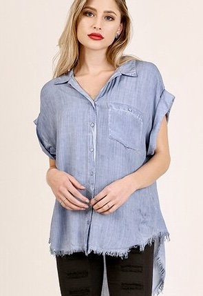 Faded Denim Button Up Top with Raw Hem