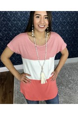 Lillie's Coral Blocked Hoop Neck Top