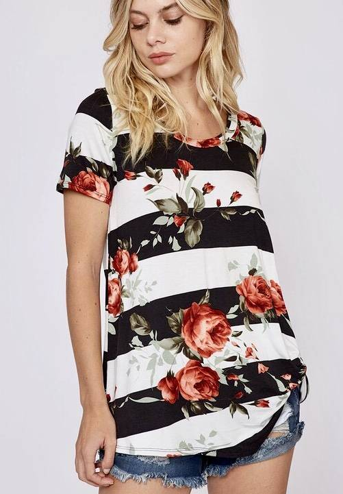 Black / Cream Floral Knotted Top
