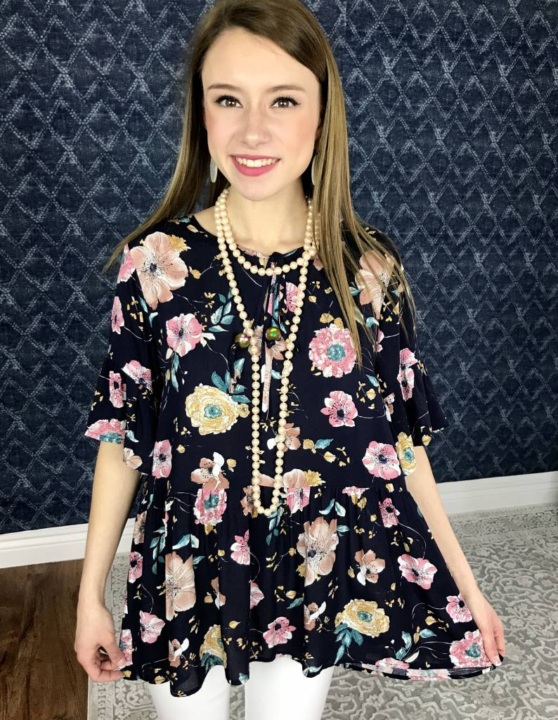 Navy Floral Babydoll Top with Keyhole