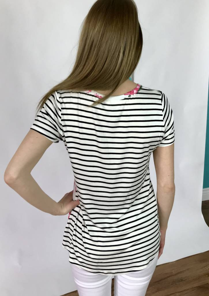 Ivory SS Patched Pocket Striped and Floral Print Top