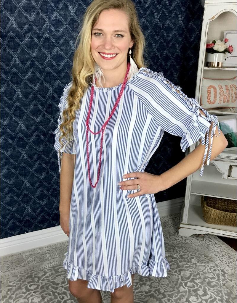 Indigo Blue Stripe Dress w/ Lace Up Shoulder & Ruffle- SALE ITEM