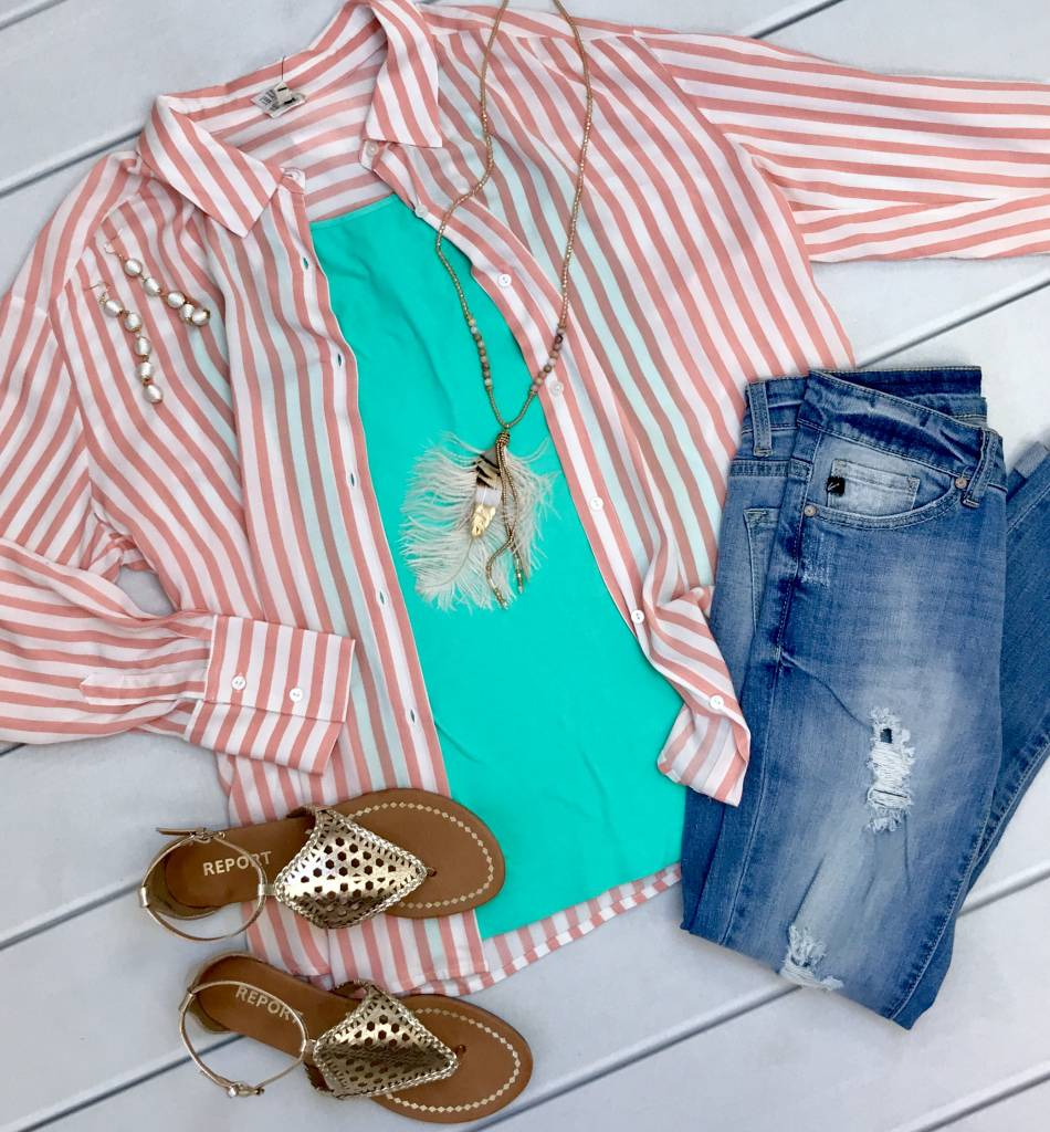 Coral Striped Button Up Top
