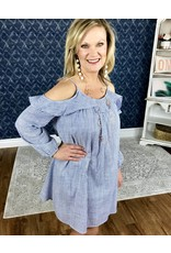 Faded Navy & White Striped Off Shoulder Ruffle Dress - SALE ITEM