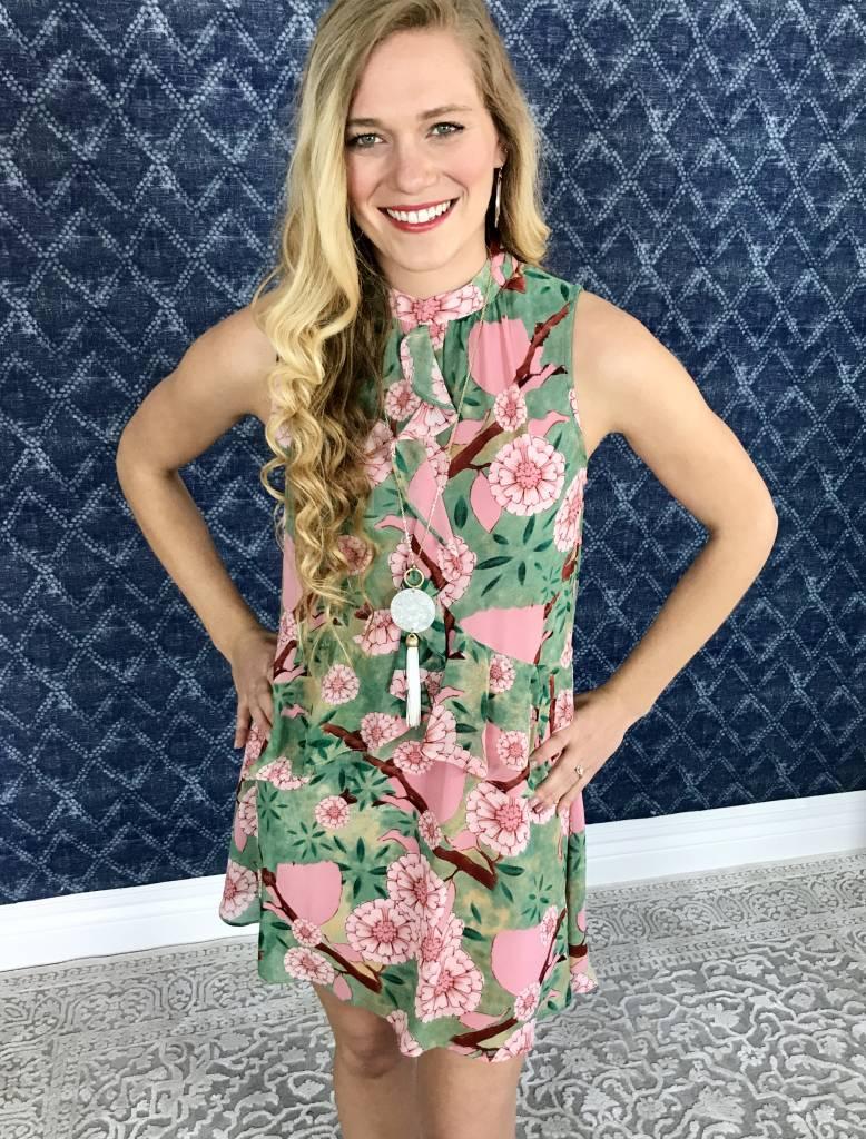Lillie's Green Mix Floral Sleeveless Frill Dress