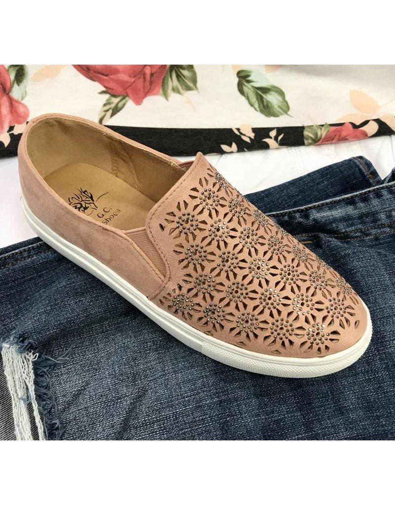Blush Embellished Sneakers