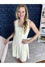 Cream Mesh Deep V-Neck Sleeveless Dress