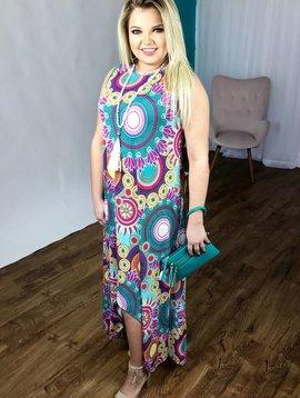 Aqua Sleeveless Boho Maxi Dress with Curved Hi-Low Hem