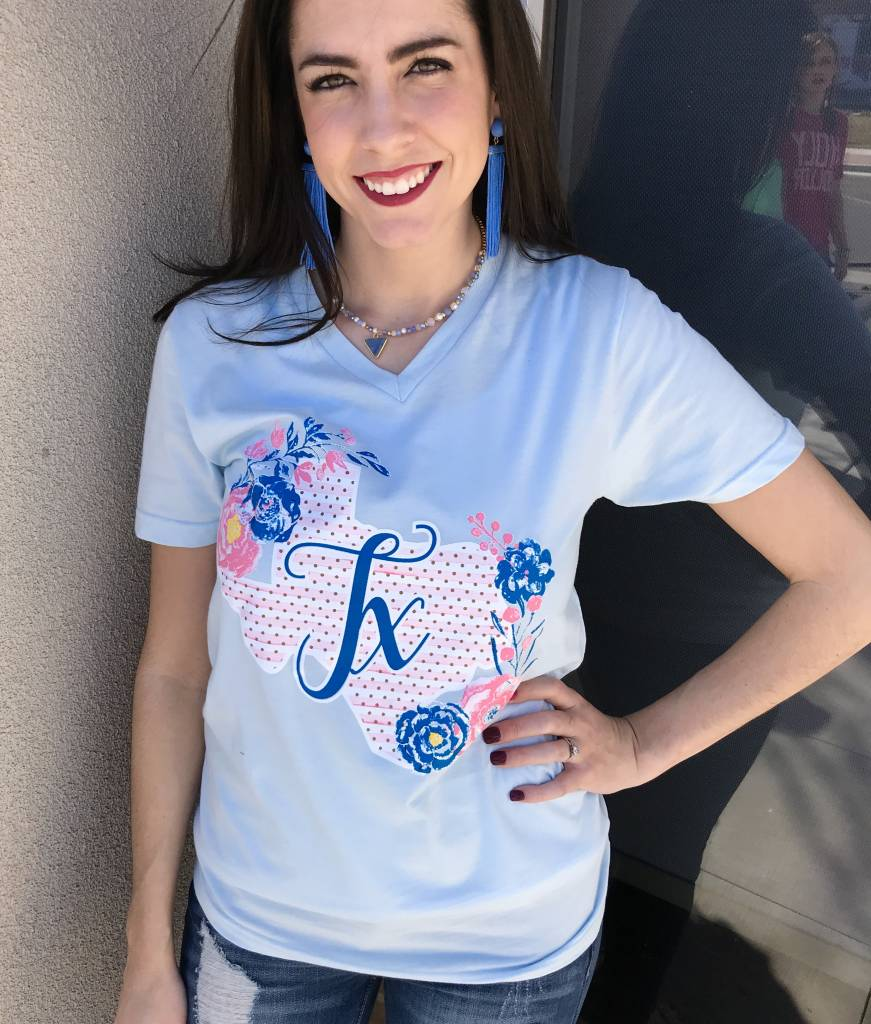 Lillie's Light Blue TX Graphic T-Shirt