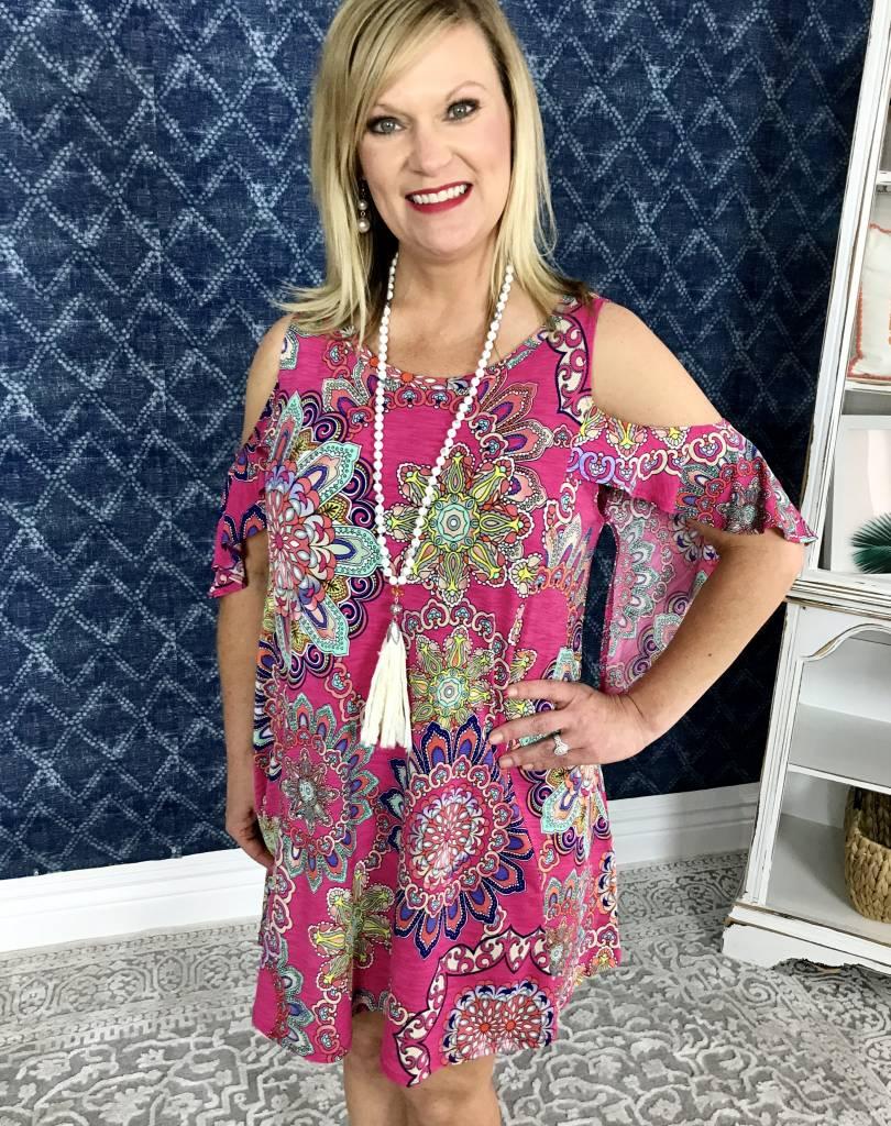 Lillie's Pink Floral Cold Shoulder Frill Dress