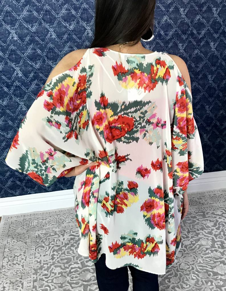 Ivory Floral Cold Shoulder Kimono with Wing Sleeve