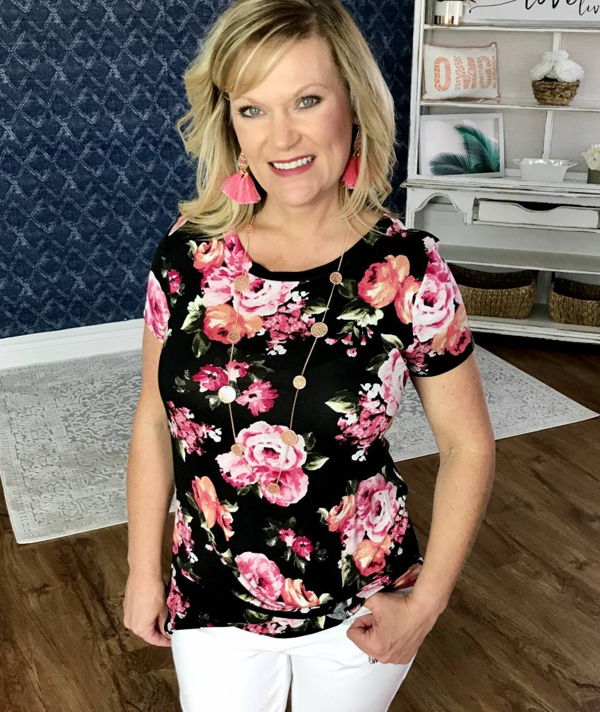 Lillie's Black Pink Floral Mix Knotted Top