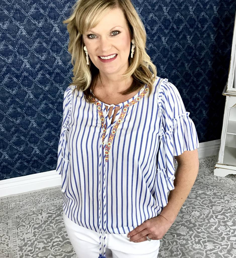 Lillie's Blue Striped Hoop Neck Top