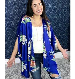 Blue Floral Lounge Open Front Kimono