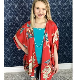 Red Floral Lounge Open Front Kimono