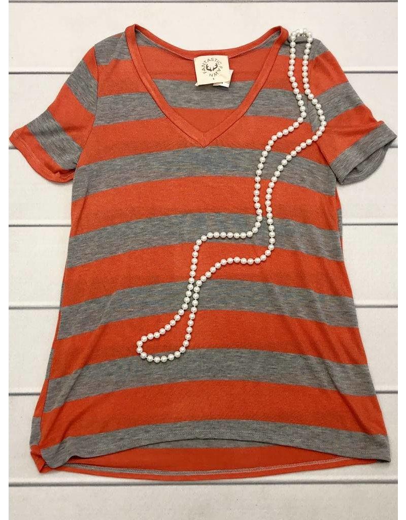 Heather Grey/Orange Striped V-Neck Top- SALE ITEM