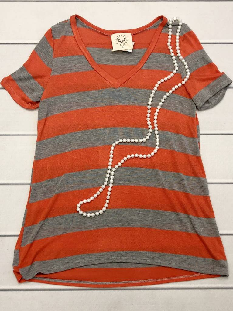 Heather Grey/Orange Striped V-Neck Top