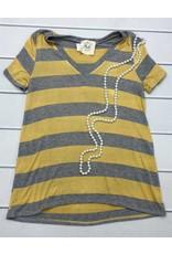 Heather Grey/Mustard Striped V-Neck Top