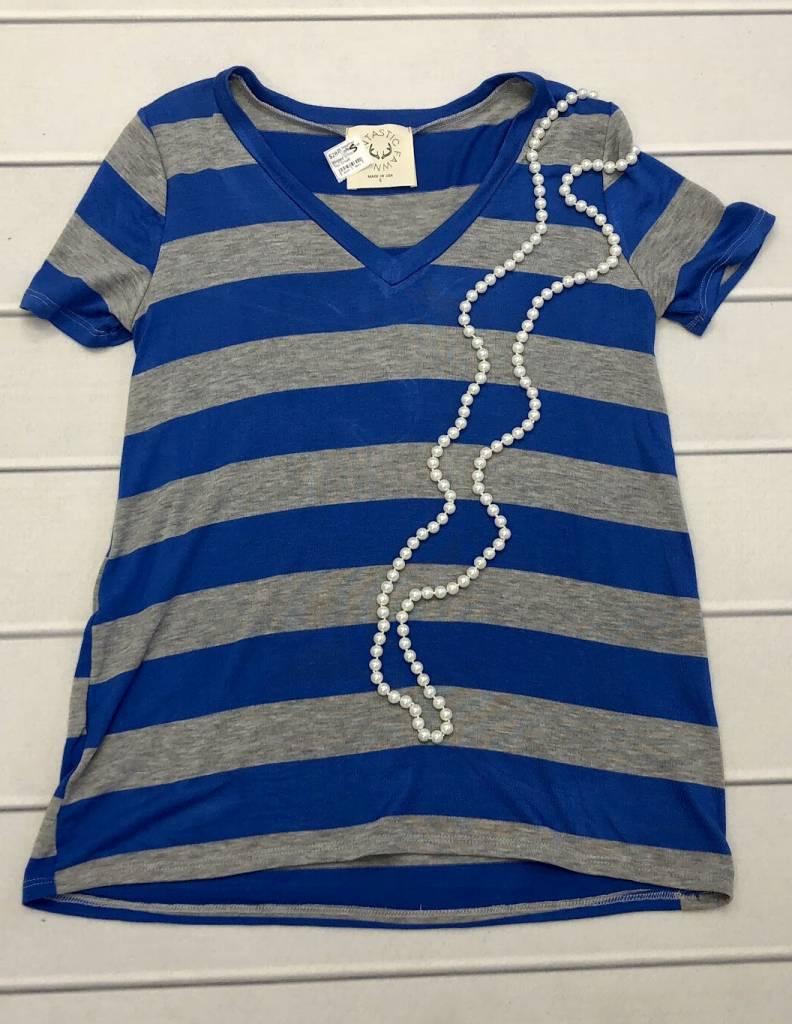 Heather Grey/Blue Striped V-Neck Top