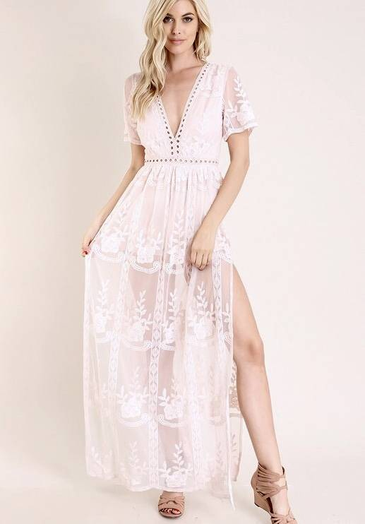 Baby Blush Deep V Lace Maxi Romper