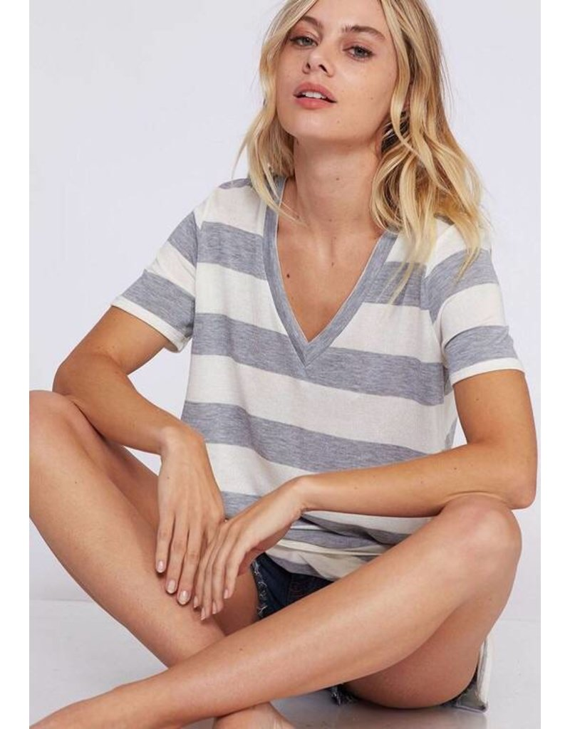 Heather Grey/White Striped V-Neck Top