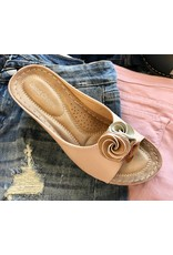Blush Leather Rose Sandal