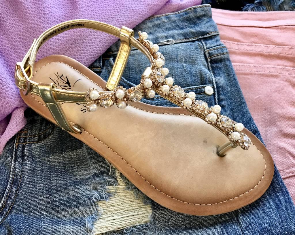 Gold Pearl Sandal