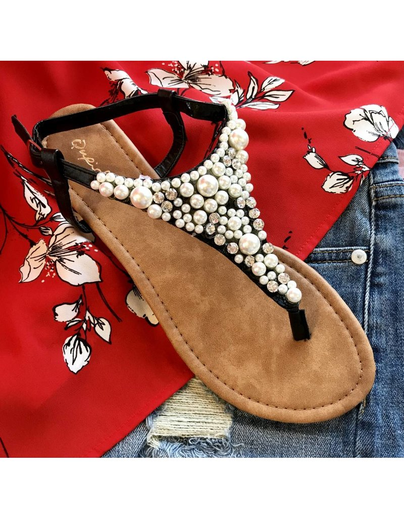 Black Pearled and Jeweled Flat Sandal