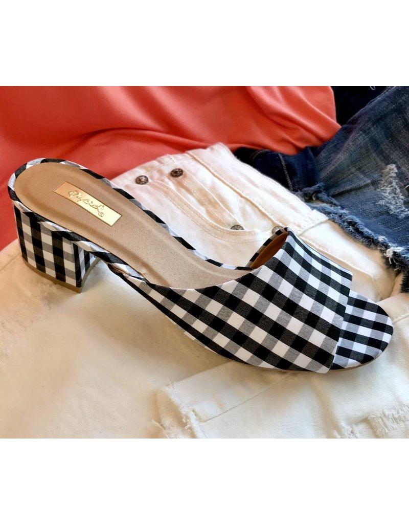 Black/White Gingham Print Flat Sandal with Chunky Heel