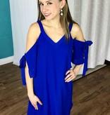 Royal Blue Open Shoulder Lattice Dress