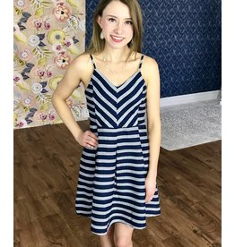 Navy Striped Fit and Flare Dress