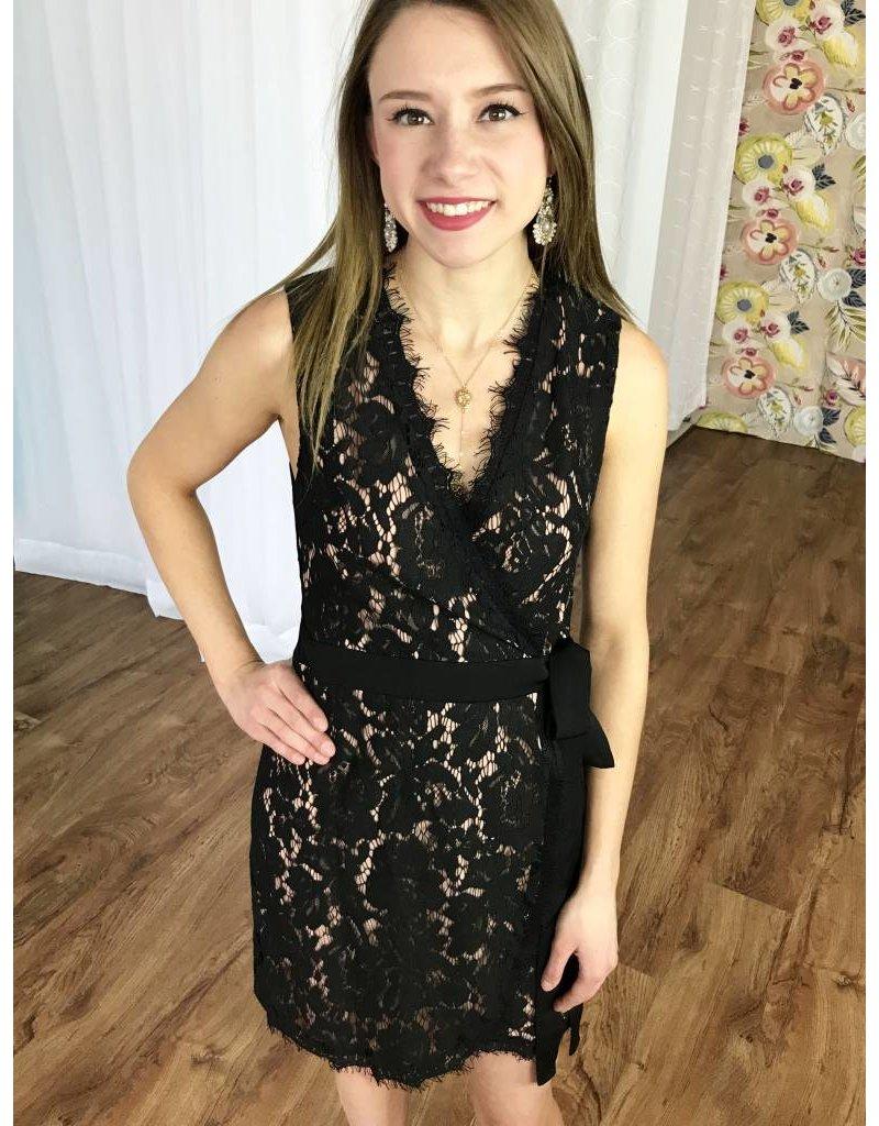 Black Lace Overlap Dress