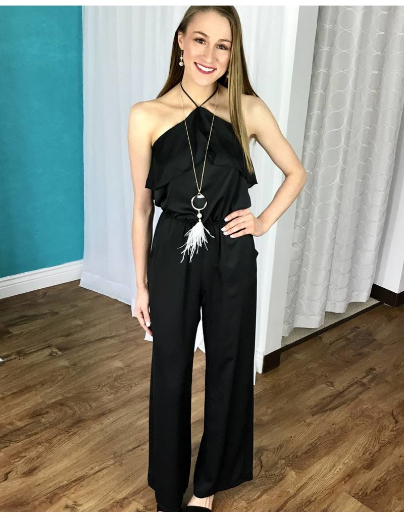 Black Open Back Jumpsuit with Ruffle Layer