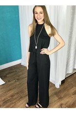 Black Halter Neck Layered Jumpsuit with Pockets
