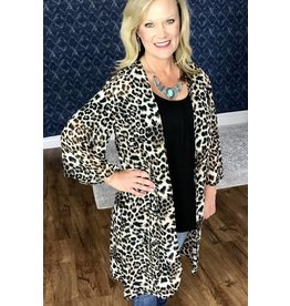 Leopard Print Sheer Open Front Kimono