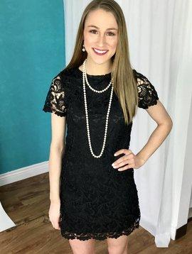 Black Crochet Lace Shift Dress with Half Sleeve