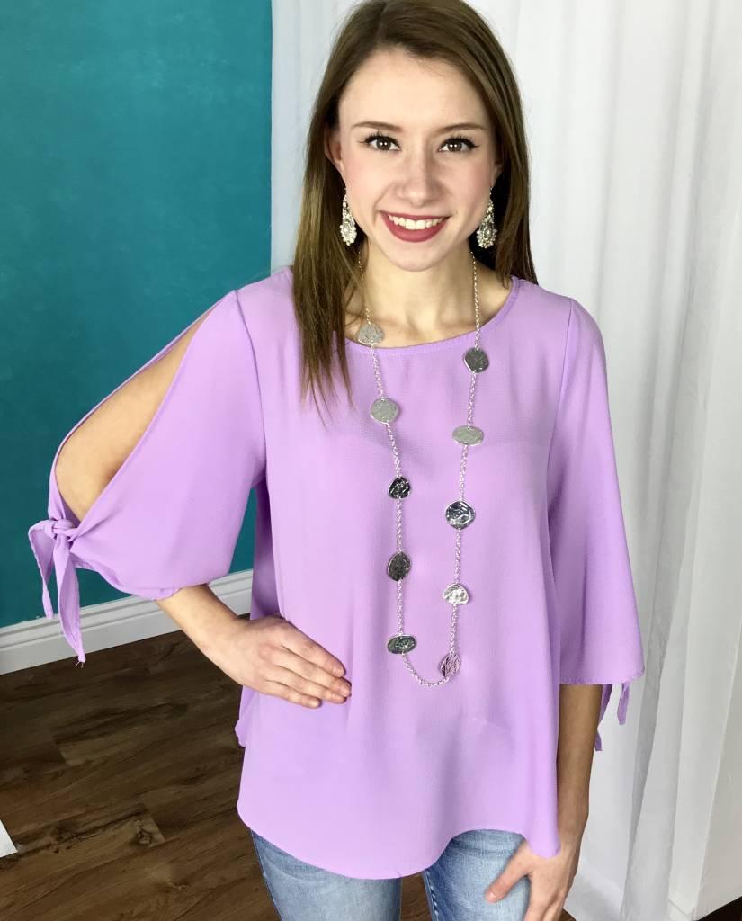 Lavender Cold Shoulder Tie Top