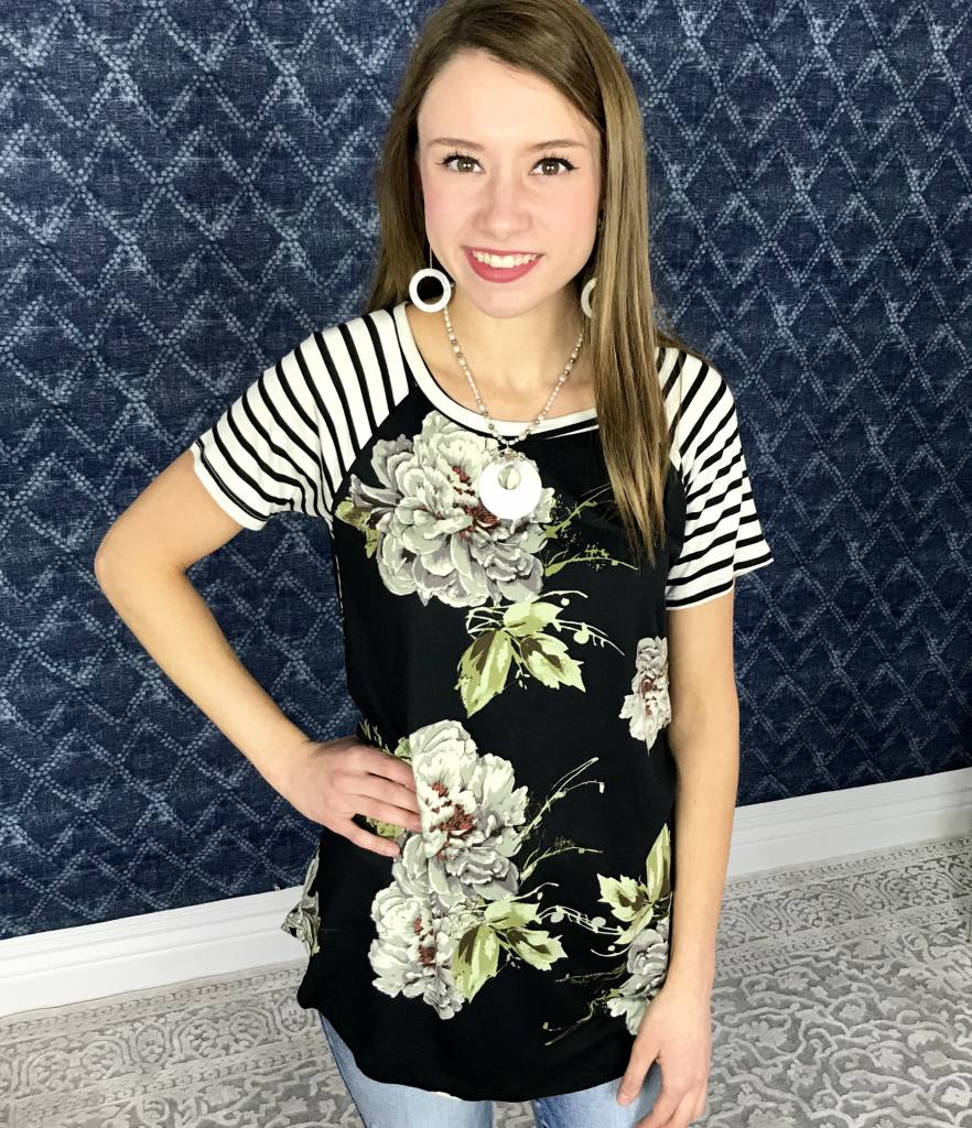 Black Floral Striped Contrast Top