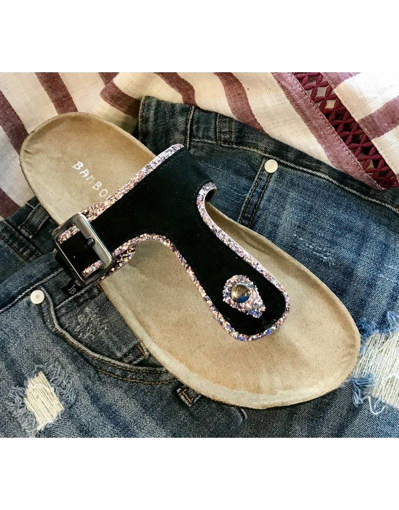Black/Rose Gold Glitter Flat Sandal