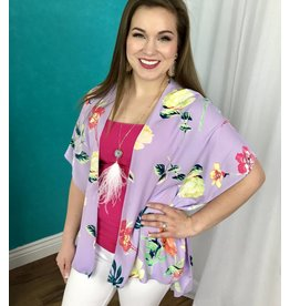 Lavender Floral Kimono with Wing Sleeve