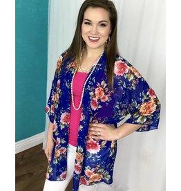 Blue Floral Wide Sleeve Kimono