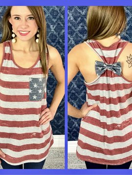 American Flag Striped Tank with Pocket and Back Bow