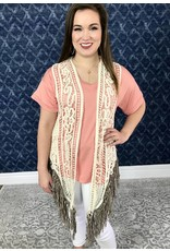 Beige Crochet Vest with Mocha Fringe