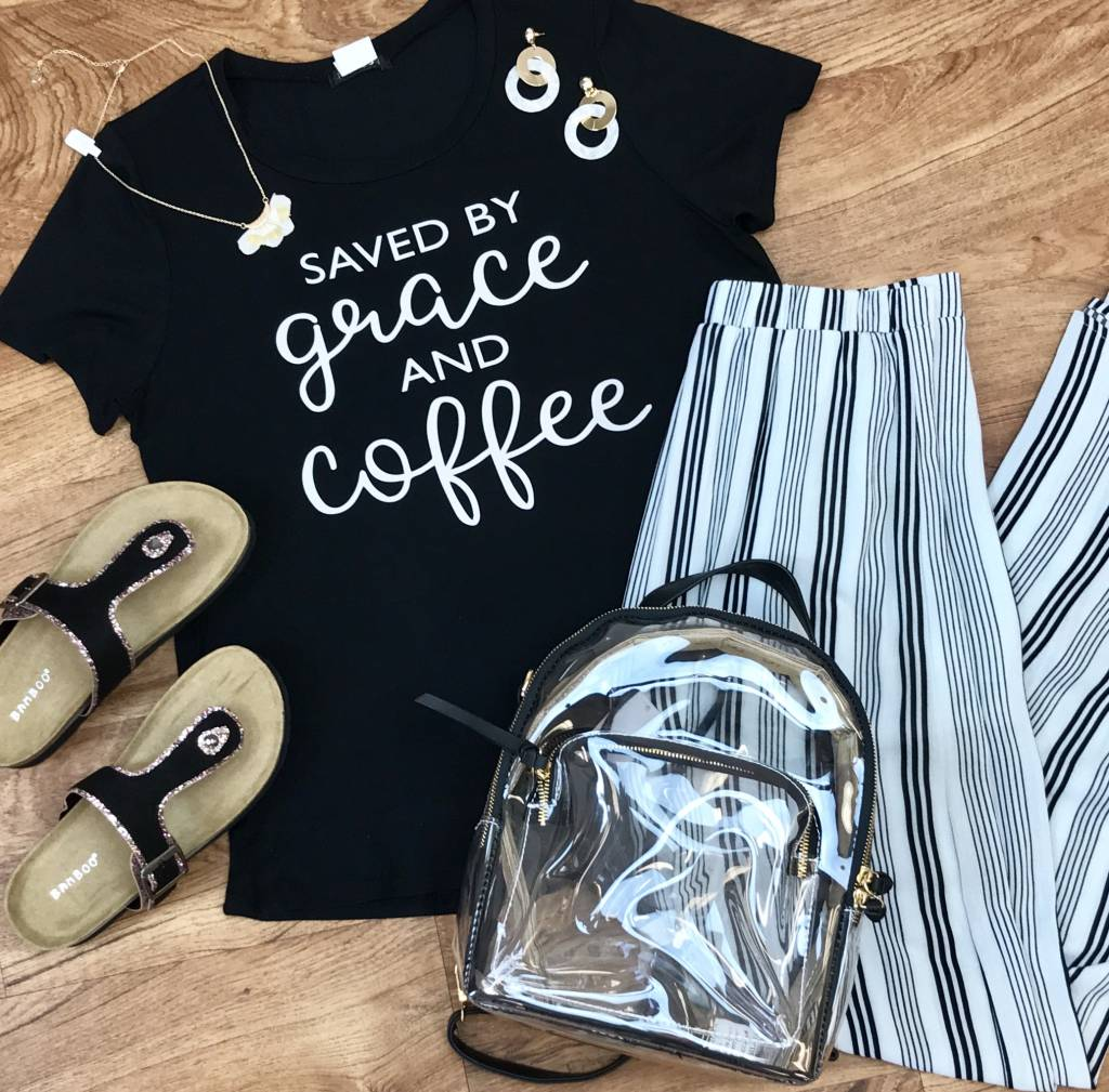 Black Saved by Grace and Coffee Tee