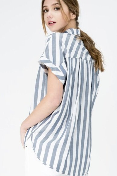 Blue Striped Over-sized Button Up Hi Lo Top