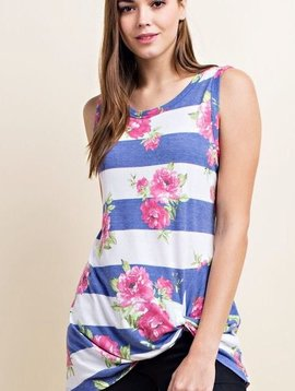 Denim Blue Striped/Floral Knotted Tank Top
